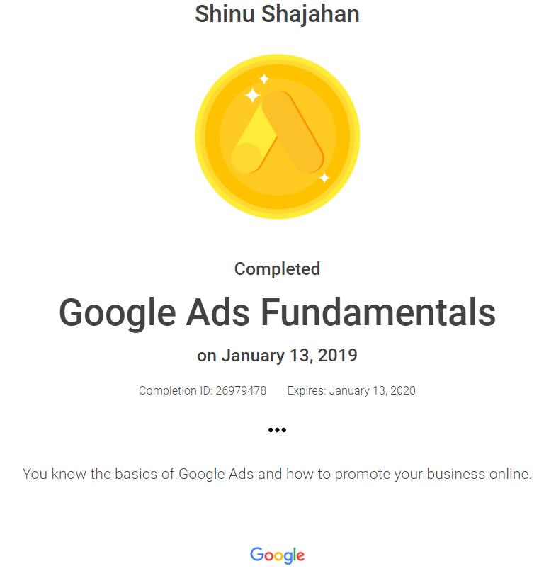 Shinu Google Ads Fundamentals