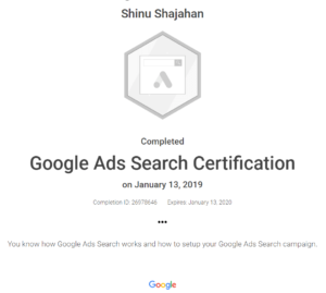 Shinu Google Ads Search Certificate