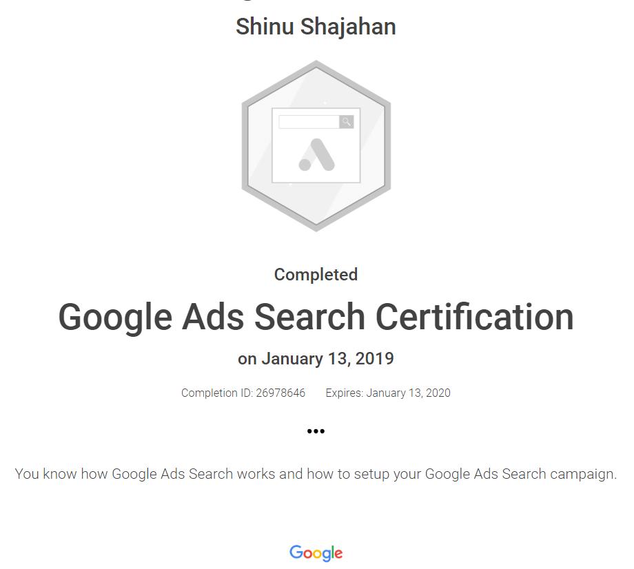 Shinu Google Ads Search Certificate